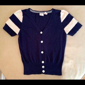 ROCKET 898 Navy & Sand Ruffled Sleeve Sweater